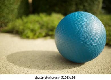 Blue kickball outdoors