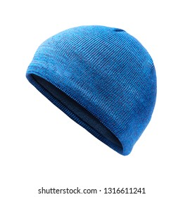 Blue Knit Hat Isolated on White. Ski Snowboard or Snowboarding Hat Beanie. Winter Sports Bobble Hat Topped. Knit Cap Folded Brim. Knitted Warm Hat. Tuque or Toque Outdoors Headgear