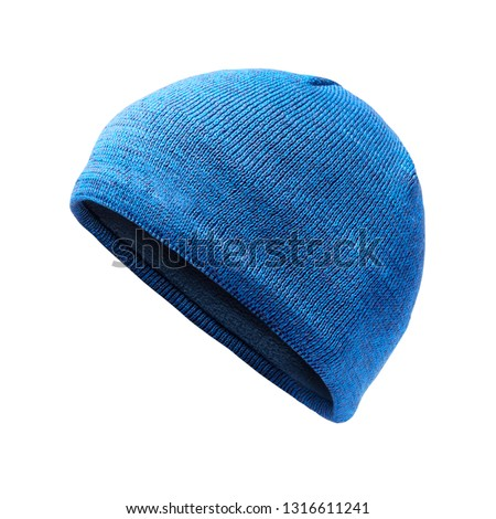 ae3ced23f72 Blue Knit Hat Isolated on White. Ski Snowboard or Snowboarding Hat Beanie.  Winter Sports Bobble Hat Topped. Knit Cap Folded Brim. Knitted Warm Hat.