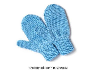 Blue knitted baby mittens isolated on a white background, top view. Winter clothes.
