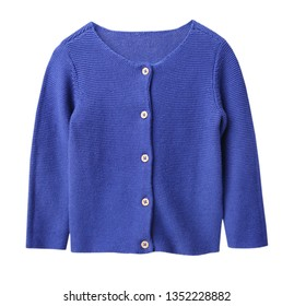 Blue knitted buttoned long sleeve cardigan isolated.Child's clothes.