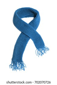Blue knitted scarf on a white background.