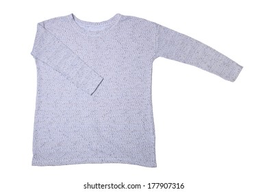 Blue knitted sweater isolated on white background