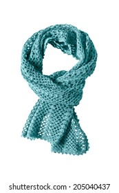 Blue knitted wool scarf isolated over white