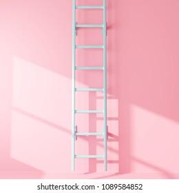 Blue ladder on pastel pink background with light.minimal concept