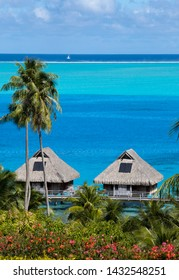 Blue lagoon of the Bora Bora island, Polynesia. Top view on palm trees, traditional lodges over water and the sea