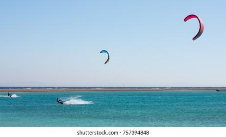 Blue lagoon, Dahab, Egypt - NOVEMBER 8, 2017:  Unidentified kitesurfer, documentary editorial.