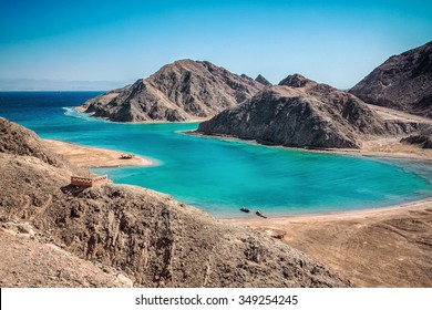 Blue lagoon with emerald water at Sinai, Egypt.