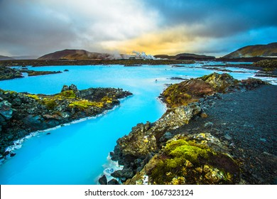 Blue Lagoon, geothermal spa located in a lava field in Grindavik on the Reykjanes Peninsula, southwestern Iceland