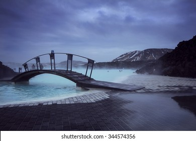 Blue Lagoon - Iceland.  Brooding skies over the steaming waters of the naturally heated Blue Lagoon