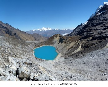 Blue lagoon or lake during salkantay trekking to Machu Picchu in Peru, South America