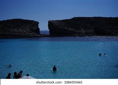 Blue lagoon in Malta island