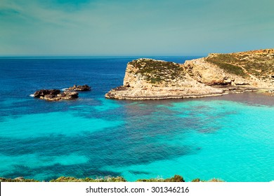 The Blue Lagoon on Comino Island, Malta Gozo.