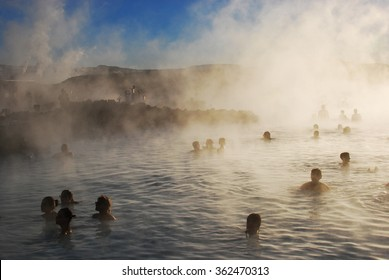 Blue lagoon with people in Iceland