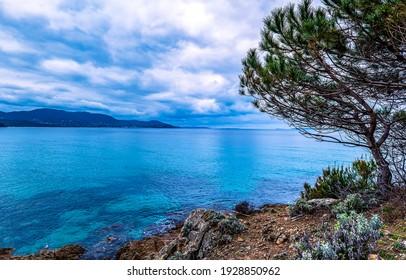 Blue lagoon in sea bay landscape. Blue lagoon landscape. Blue lagoon. Blue lagoon view