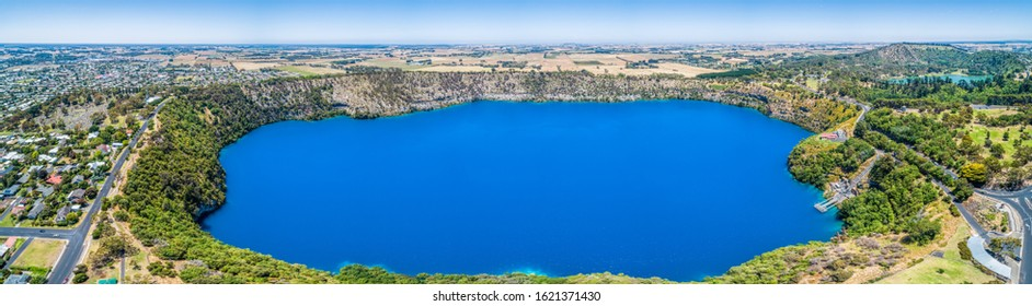 The Blue Lake is a crater lake located in a dormant volcanic maar of Mount Gambier in South Australia - aerial panoramic landscape