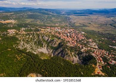 Blue Lake Croatian: Modro jezero or Plavo jezero is a karst lake located near Imotski in Croatia.  Aerial drone shot, september 2020 - Shutterstock ID 1951851568
