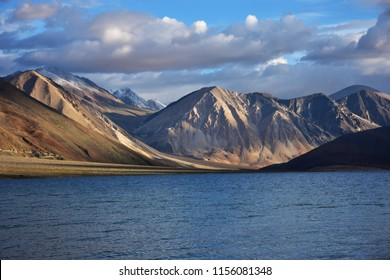 The blue lake in the drought. It is a tourist attraction of Leh town in India.