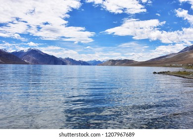 Blue Lake in the far valley. It is a major tourist city of Leh, India.