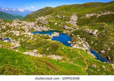 Blue Lake in Roshka - Chauki mountain valley, Georgia