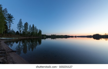 Blue Lake and Sky, sunrise, wide-angle