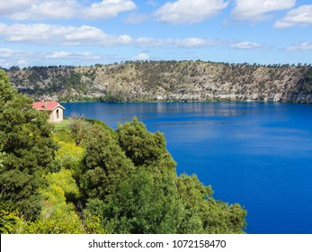 Blue Lake, a volcanic crater at Mount Gambier-South Australia on a sunny day.