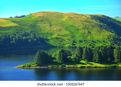 Blue lake water in sunny Wales, United Kingdom