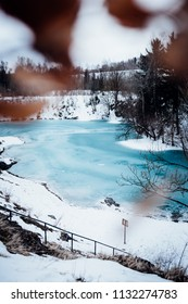 Blue lake in Winter, Portrait