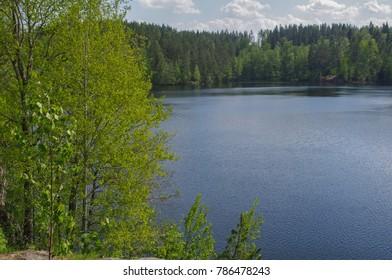 blue lake Yastrebinoye, Priozersky district in Leningrad region, Russia