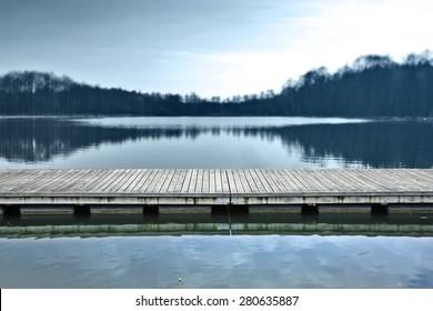 blue landscape of pier at morning