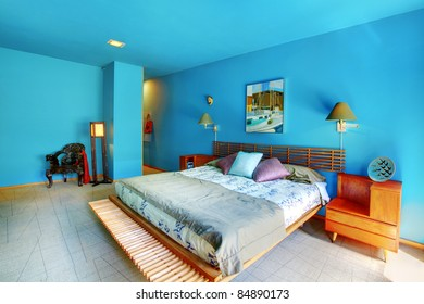Blue large and bright asian style bedroom