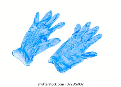 Blue latex gloves, isolated on white background