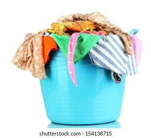 Blue laundry basket isolated on white