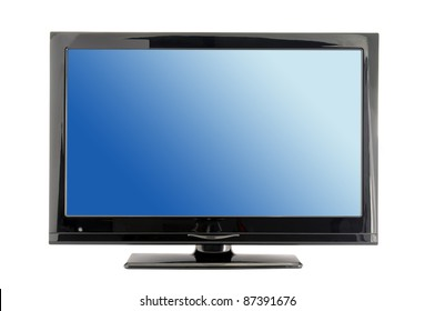 blue lcd tv monitor isolated on white background