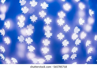 Blue Leaf Bokeh background. Modern, abstract flat design for card or website.