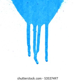 Blue leaking paint on white background