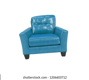 Blue leather chair isolated on white background