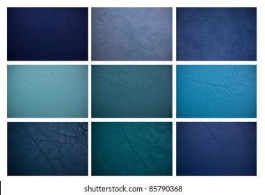 Blue leather collection.