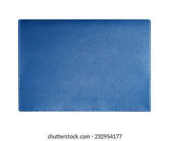 Blue leather notebook cover isolated on white background