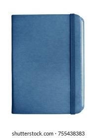 Blue leather notebook with elastic band closure isolated on white background.