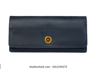 Blue leather wallet isolated on white background