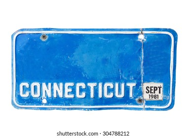 Blue license plate of Connecticut, America on white background, Isolated.