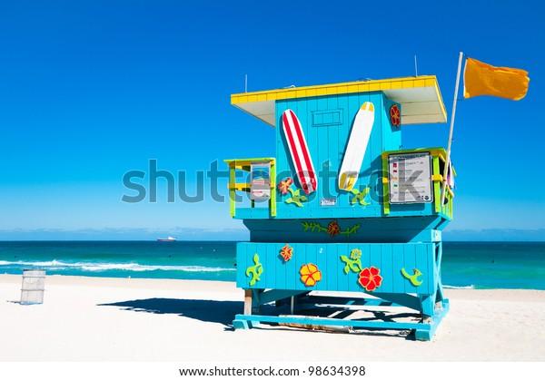 Blue Lifeguard Tower in South Beach, Miami Beach, Florida