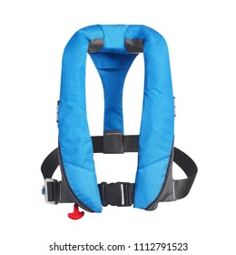 Blue Lifejacket Isolated on White Background. Front View of  Inflatable Life Jacket. Coast Guard PFD Personal Flotation Device. Childrens Cork Jacket. Buoyancy Aid or Flotation Suit
