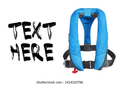 Blue Lifejacket Isolated on White Background. Inflatable Life Jacket. Buoyancy Aid or Flotation Suit. Front View of Coast Guard PFD Personal Flotation Device. Childrens Cork Jacket