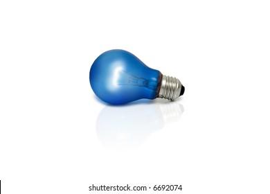 Blue light bulb. Isolated light bulb