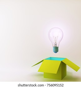Blue Light bulbs glowing creative idea think outside the green box ,Concept idea about Business for innovation and inspiration. minimal concept idea.