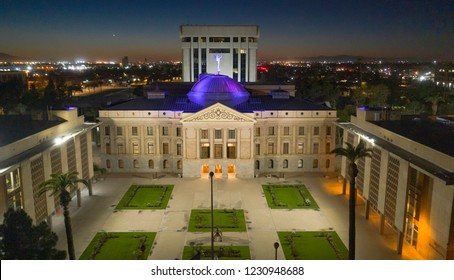 Blue light illuminates the roof of the Arizona Capitol building in Phoenix USA