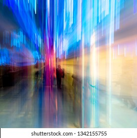 Blue light indoors in motion as abstract background.