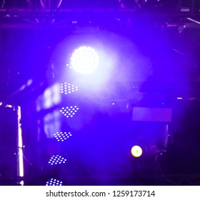 Blue light on stage as abstract background .